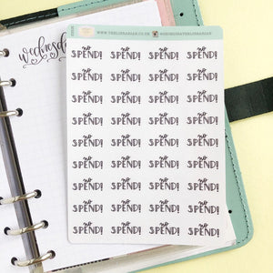 No spend script planner stickers lettering monochrome small size hand lettered