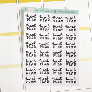Meal plan script planner stickers lettering monochrome small size hand lettered