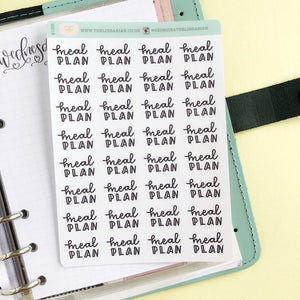 Meal plan script planner stickers lettering monochrome small size hand lettered great for bullet journal