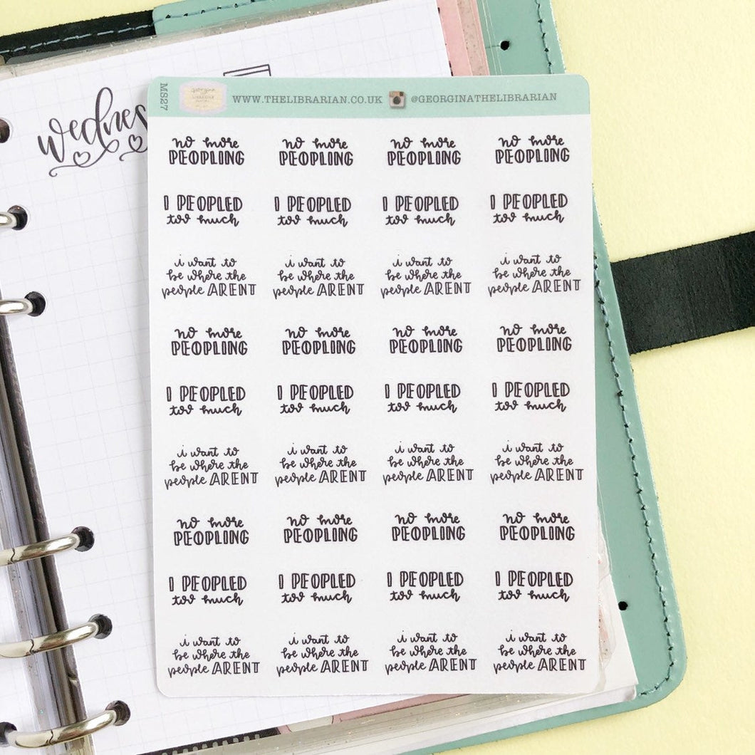 Peopled too much introvert script planner stickers lettering monochrome small size hand lettered