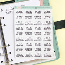Load image into Gallery viewer, Peopled too much introvert script planner stickers lettering monochrome small size hand lettered