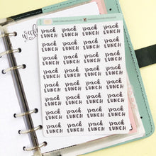 Load image into Gallery viewer, Pack lunches script planner stickers lettering monochrome small size hand lettered great for bullet journal
