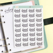 Load image into Gallery viewer, Foil Big food Shop script planner stickers lettering small size hand lettered great for bullet journal