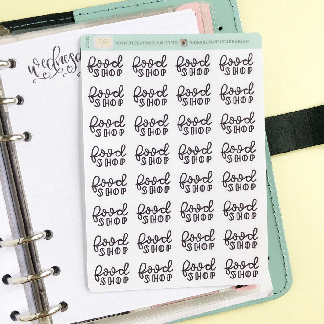 Big food Shop script planner stickers lettering monochrome small size hand lettered great for bullet journal