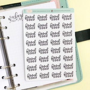 Big food Shop script planner stickers lettering monochrome small size hand lettered