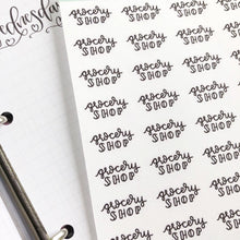 Load image into Gallery viewer, Grocery Shop script planner stickers lettering monochrome small size hand lettered