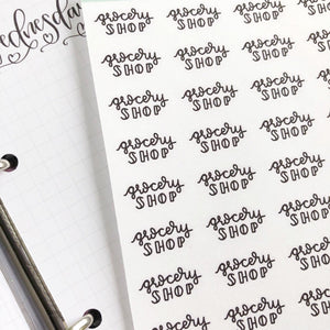 Grocery Shop script planner stickers lettering monochrome small size hand lettered