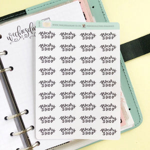 Foil Grocery Shop script planner stickers lettering small size hand lettered