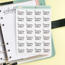 Load image into Gallery viewer, Happy Mail script planner stickers lettering monochrome small size hand lettered great for bullet journal