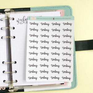Foil Today script planner stickers lettering small size hand lettered great for bullet journal