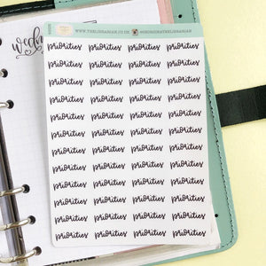 Priorities script planner stickers lettering monochrome small size hand lettered