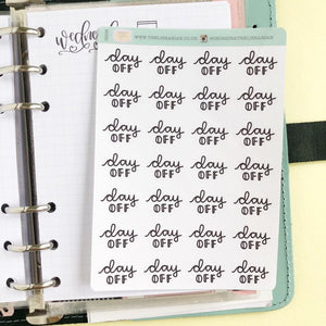 Day off script planner stickers lettering monochrome small size hand lettered