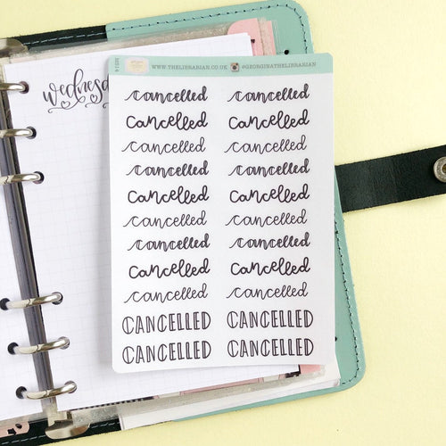 Cancelled script planner stickers lettering monochrome small size hand lettered great for bullet journal