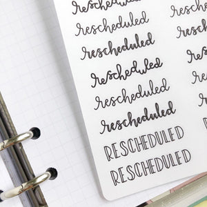 Rescheduled script planner stickers lettering monochrome small size hand lettered
