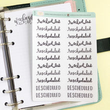 Load image into Gallery viewer, Rescheduled script planner stickers lettering monochrome small size hand lettered great for bullet journal