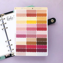 Load image into Gallery viewer, Scallop edge Quarter Box multi colour Planner stickers in cool and warm tones