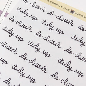 Tidy up and declutter cleaning script planner stickers lettering monochrome large size hand lettered great for bullet journal