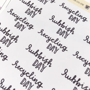 Recycling rubbish/trash day script planner stickers lettering monochrome large size hand lettered