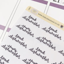 Load image into Gallery viewer, Dishwasher script planner stickers lettering monochrome large size hand lettered