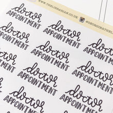 Load image into Gallery viewer, Doctor appointment script planner stickers lettering monochrome large size hand lettered great for bullet journal