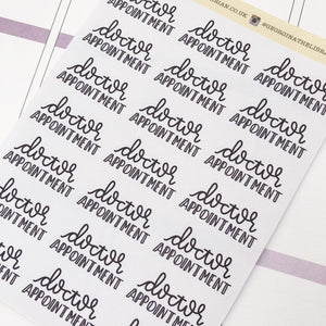 Doctor appointment script planner stickers lettering monochrome large size hand lettered great for bullet journal