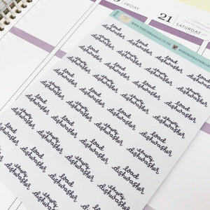 Dishwasher script planner stickers lettering monochrome small size hand lettered great for bullet journal