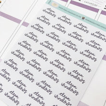 Load image into Gallery viewer, Clean windows script planner stickers lettering monochrome small size hand lettered great for bullet journal