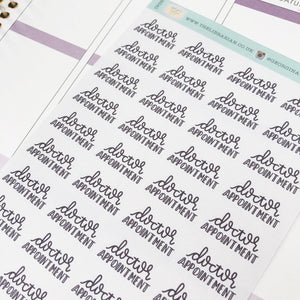 Doctor appointment script planner stickers lettering monochrome small size hand lettered