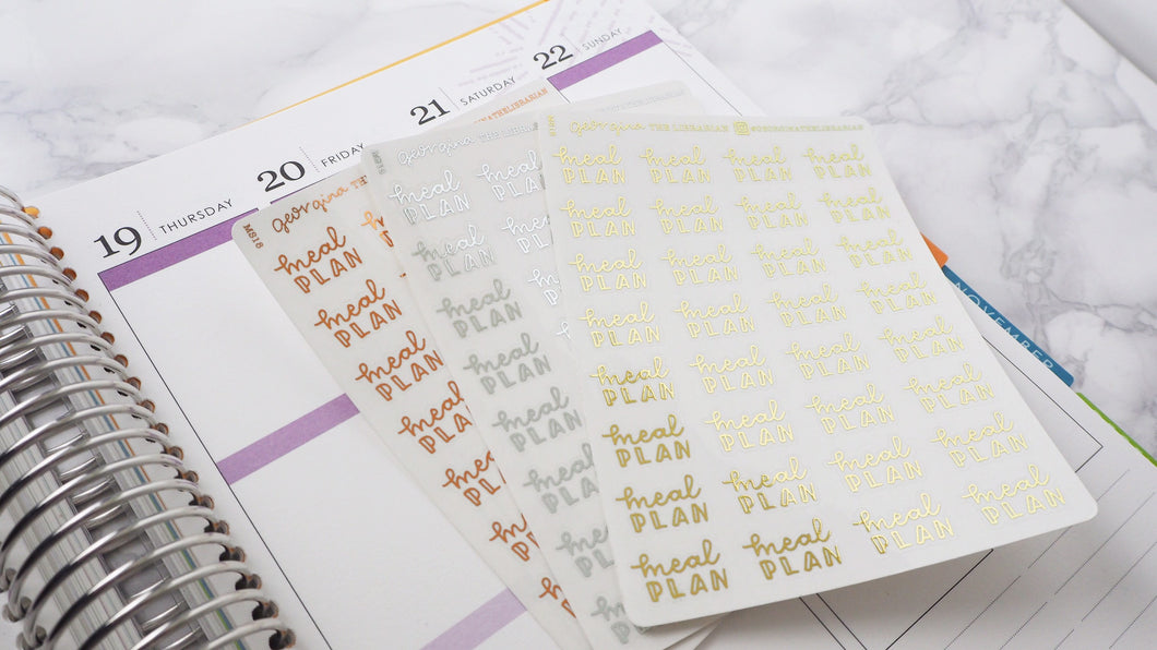 Foil Meal plan script planner stickers lettering monochrome small size hand lettered great for bullet journal