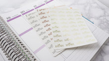 Load image into Gallery viewer, Foil No spend script planner stickers lettering monochrome small size hand lettered