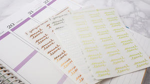 Foil Annual Leave script planner stickers lettering large size hand lettered great for bullet journal