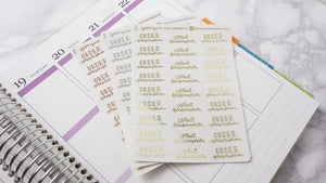 Foil Prescriptions script planner stickers hand lettering large size hand lettered great for bullet journal