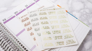 Foil Peopled too much introvert script planner stickers lettering large size hand lettered