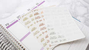 Foil Working week dismay to fri yay script planner stickers letteringmall size hand lettered