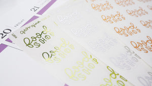 Foil Big food Shop script planner stickers lettering  large size hand lettered