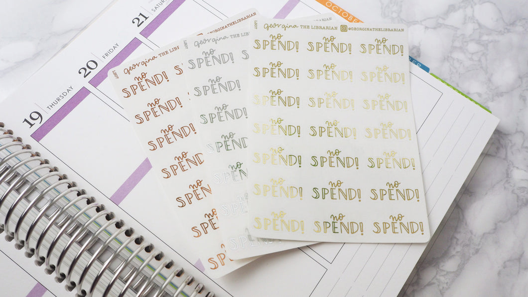 Foil No spend script planner stickers lettering  large size hand lettered great for bullet journal