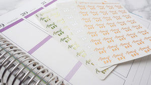 Foil Pay Day script planner stickers lettering monochrome mini size labels