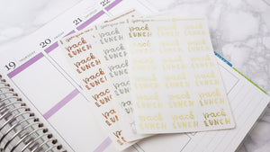 Foil Pack lunches script planner stickers lettering large size hand lettered