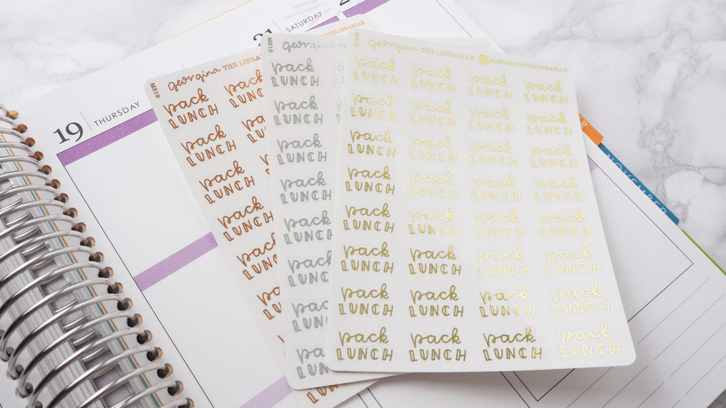 Foil Pack lunches script planner stickers lettering small size hand lettered