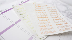 Foil Rescheduled script planner stickers lettering small size hand lettered