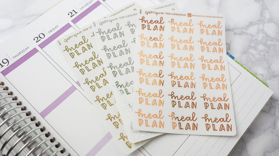 Foil Meal plan script planner stickers lettering large size hand lettered