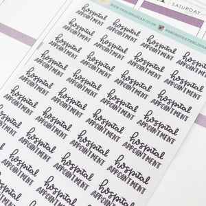 Hospital appointment script planner stickers lettering monochrome small size hand lettered great for bullet journal