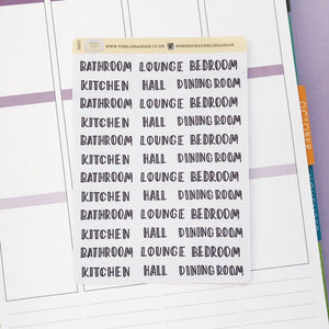 Rooms of the house cleaning script planner stickers lettering monochrome large size hand lettered