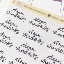 Load image into Gallery viewer, Clean windows script planner stickers lettering monochrome large size hand lettered