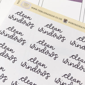 Clean windows script planner stickers lettering monochrome large size hand lettered