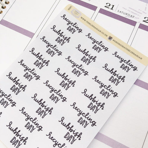 Recycling rubbish/trash day script planner stickers lettering monochrome large size hand lettered great for bullet journal