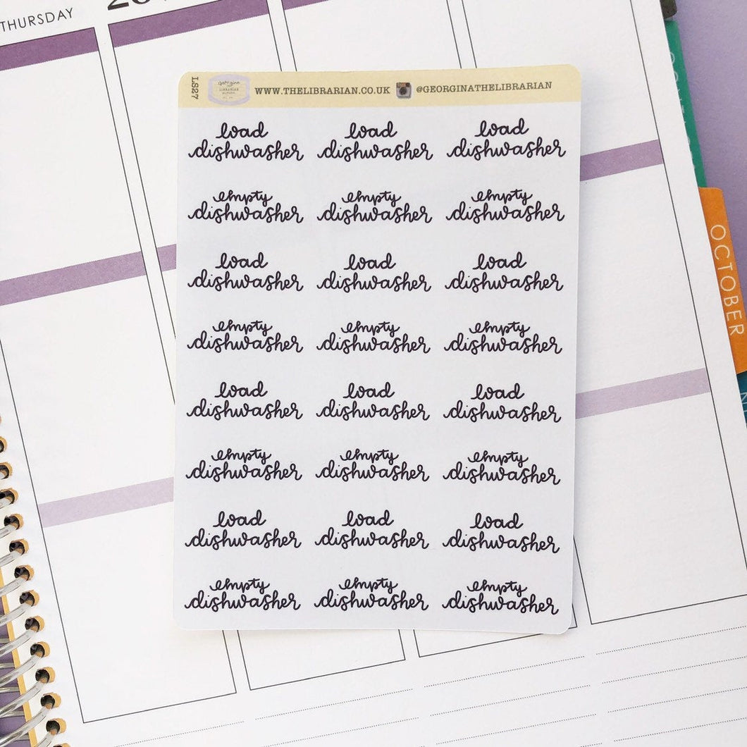 Dishwasher script planner stickers lettering monochrome large size hand lettered