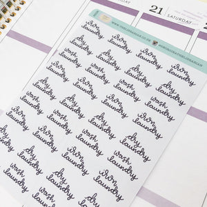 Laundry ironing script planner stickers lettering monochrome small size hand lettered