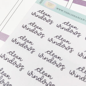 Clean windows script planner stickers lettering monochrome small size hand lettered great for bullet journal