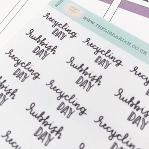 Recycling rubbish/trash day script planner stickers lettering monochrome small size hand lettered